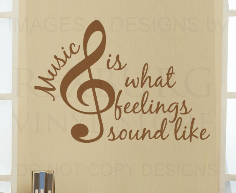 Wall Decal Quote Vinyl Sticker Art Graphic Music Is What Feelings Sound Like S26 Ebay