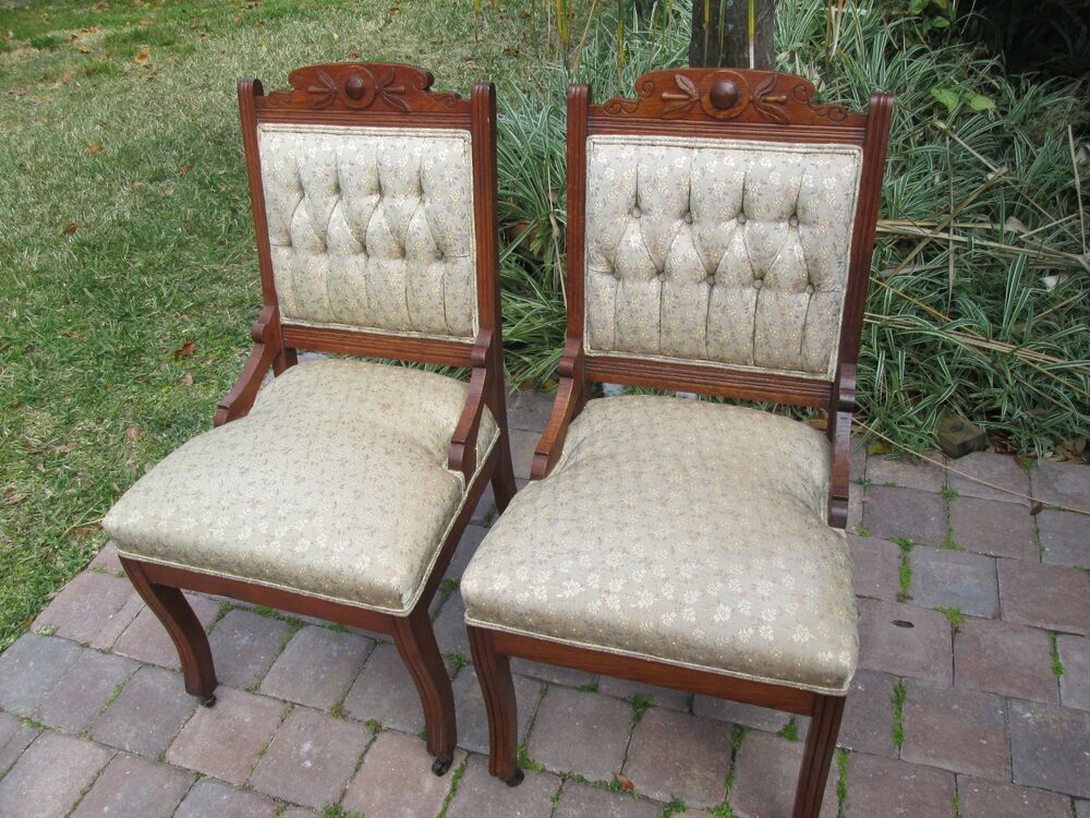 2 antique eastlake walnut carved parlor chairs ebay
