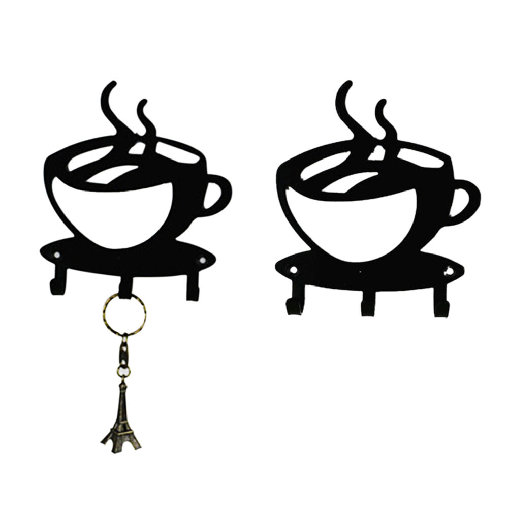 Coffee Cup Black Silhouette Wall Key Hanging Holder 3 Hook