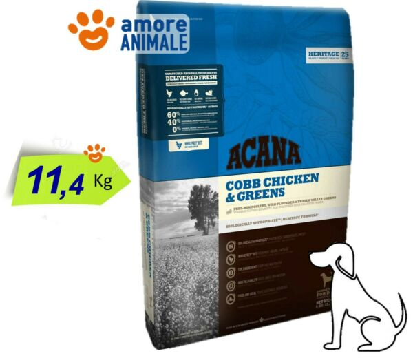 Acana Dog Heritage Cobb Chicken & Greens 11,4 Kg -  Crocchette per Cani Adulti
