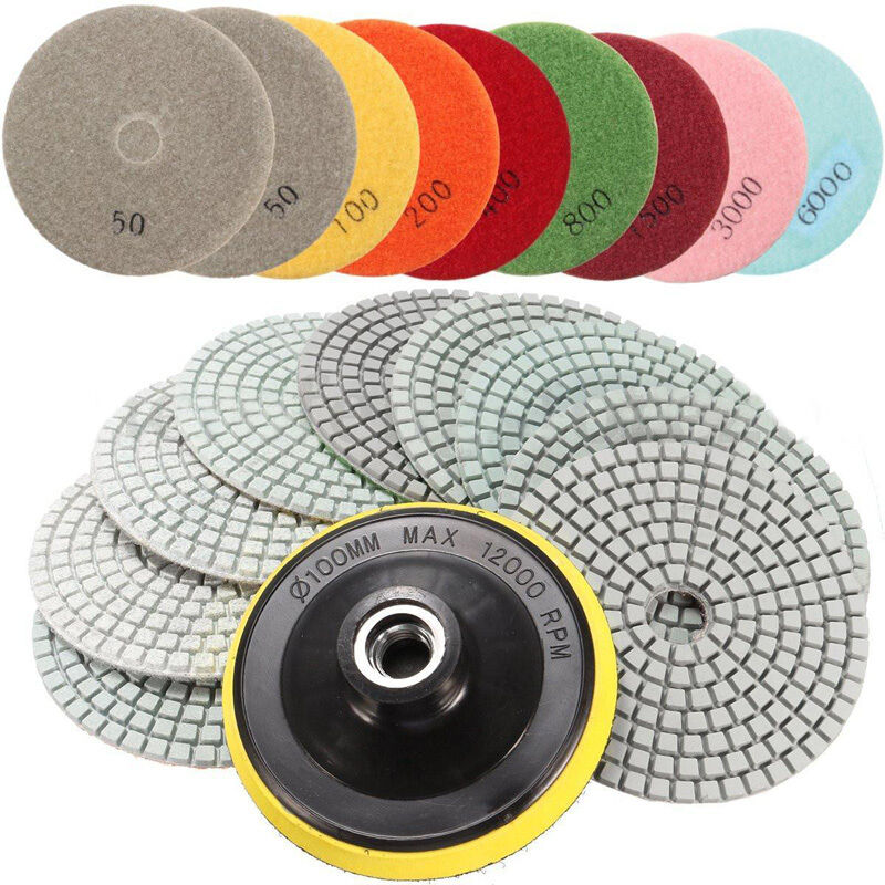 10pcs Wet Dry Diamond Polishing Pads 4 Inch Set Kit for Marble Concrete Granite