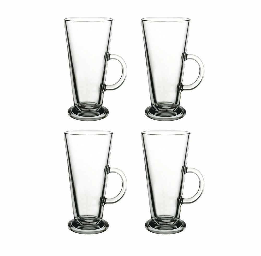 4 latte macchiato kaffee gl ser glas kaffeegl ser teegl ser mit henkel 250ml ebay. Black Bedroom Furniture Sets. Home Design Ideas