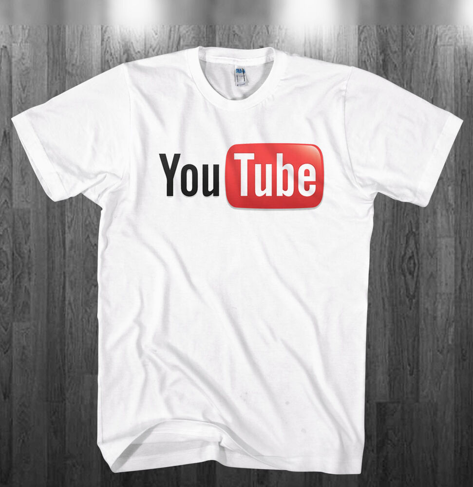 youtube logo t shirt you tube broadcast youtuber white shirts adult kids sizes ebay. Black Bedroom Furniture Sets. Home Design Ideas