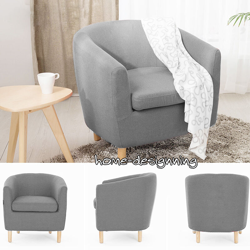 Details About Grey Linen Fabric Single Seater Sofa Tub Arm Chair Dining Room Lounge Furniture