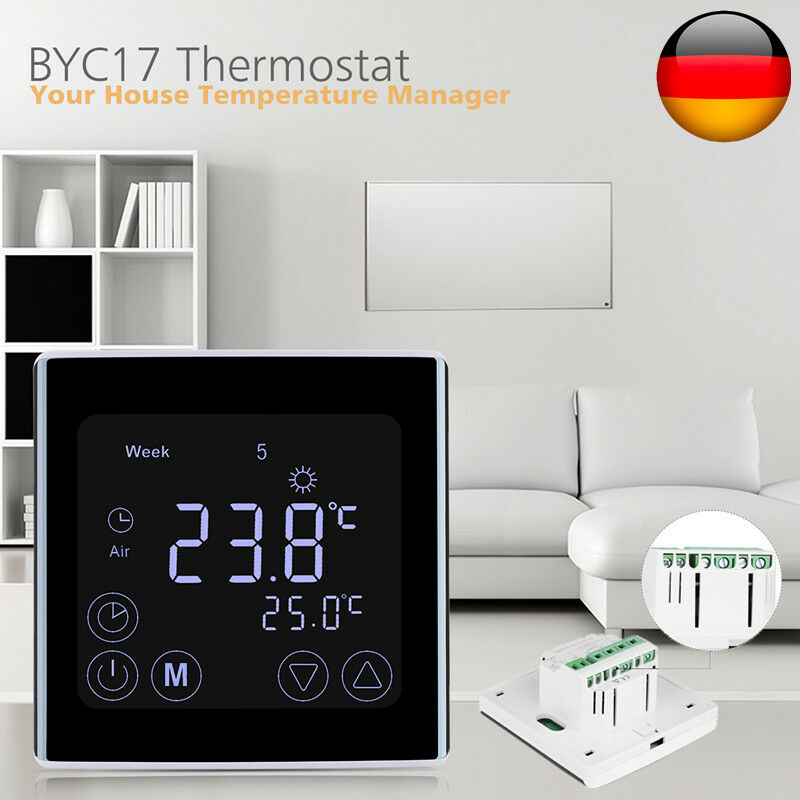 digital lcd smart thermostat raumthermostat fu bodenheizung wandheizung touch de ebay. Black Bedroom Furniture Sets. Home Design Ideas