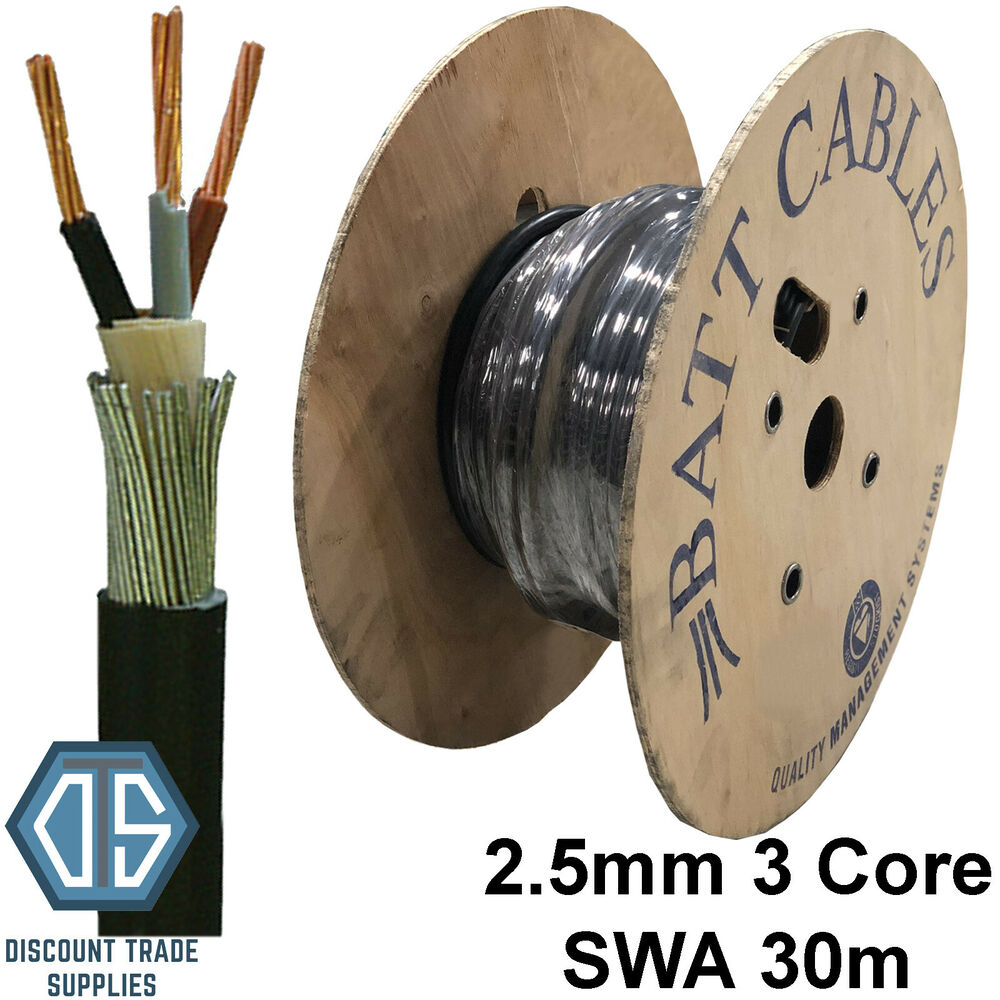 2 5mm 3 Core Swa Steel Wire Armoured Cable 30m Basec