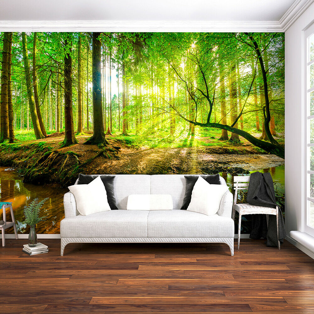 vlies fototapete wald sonne natur landschaft gr n tapete wandbild xxl ausblick ebay. Black Bedroom Furniture Sets. Home Design Ideas
