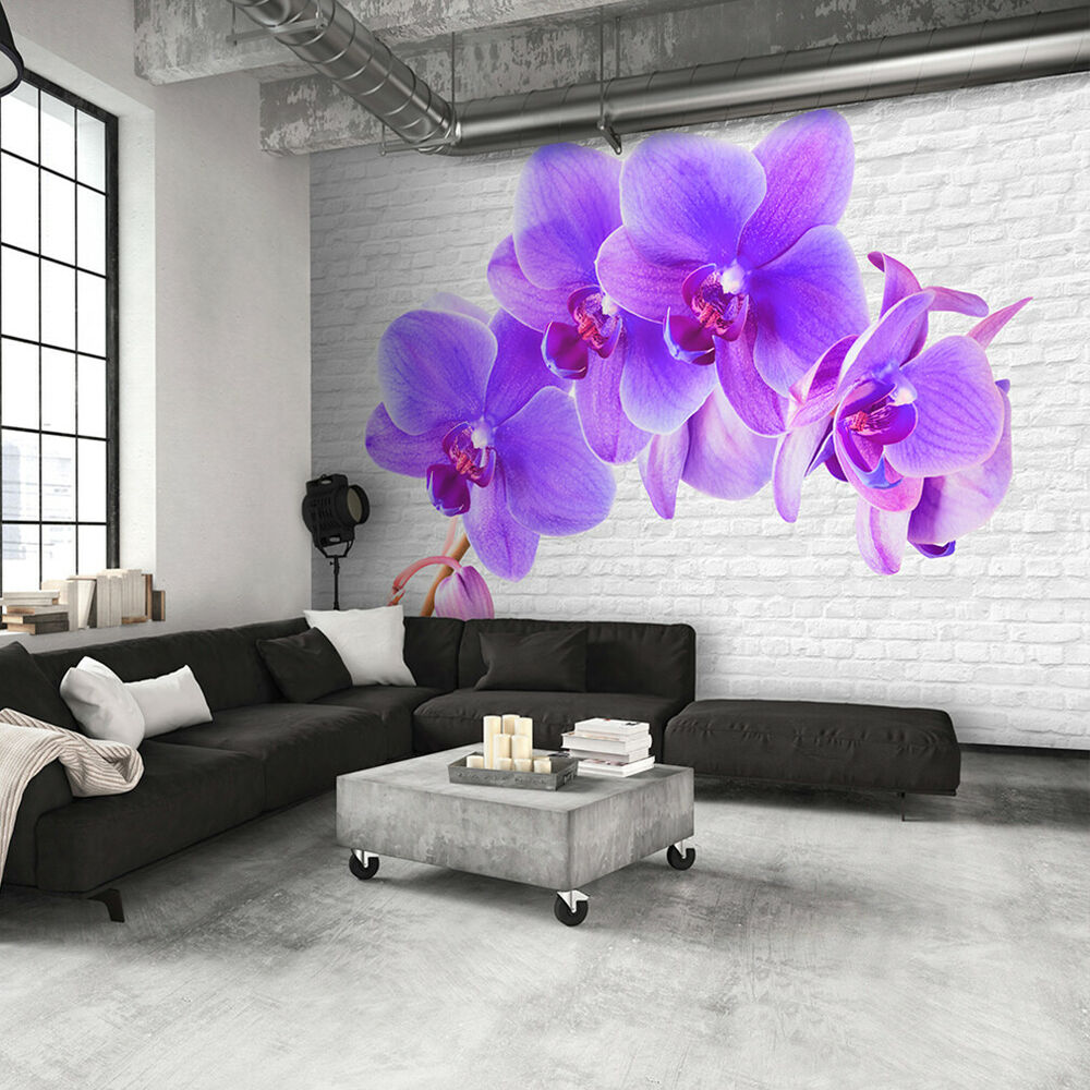 vlies fototapete blumen orchidee stein 3d tapete wandbilder xxl wohnzimmer 3farb ebay. Black Bedroom Furniture Sets. Home Design Ideas