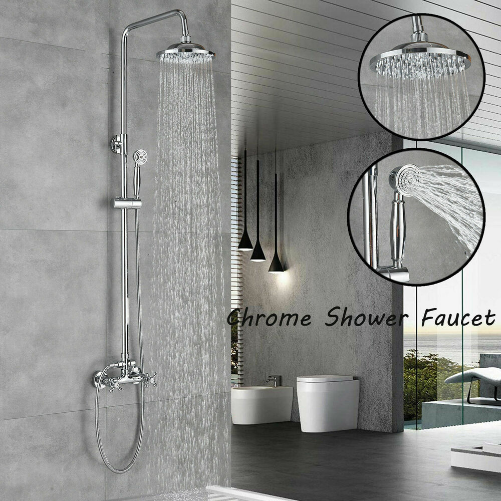 wall mount shower faucet tub spout hand shower shower head sprayer chrome brass ebay. Black Bedroom Furniture Sets. Home Design Ideas