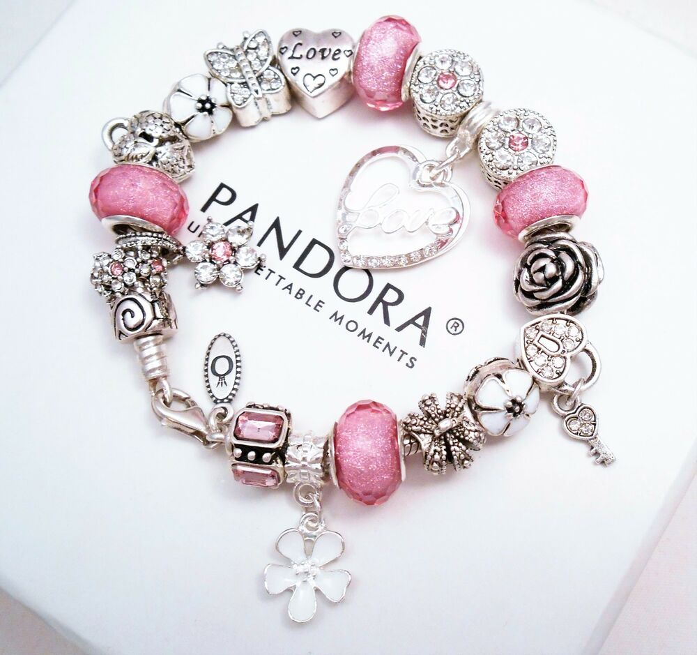 authentic pandora sterling silver charm bracelet with pink. Black Bedroom Furniture Sets. Home Design Ideas
