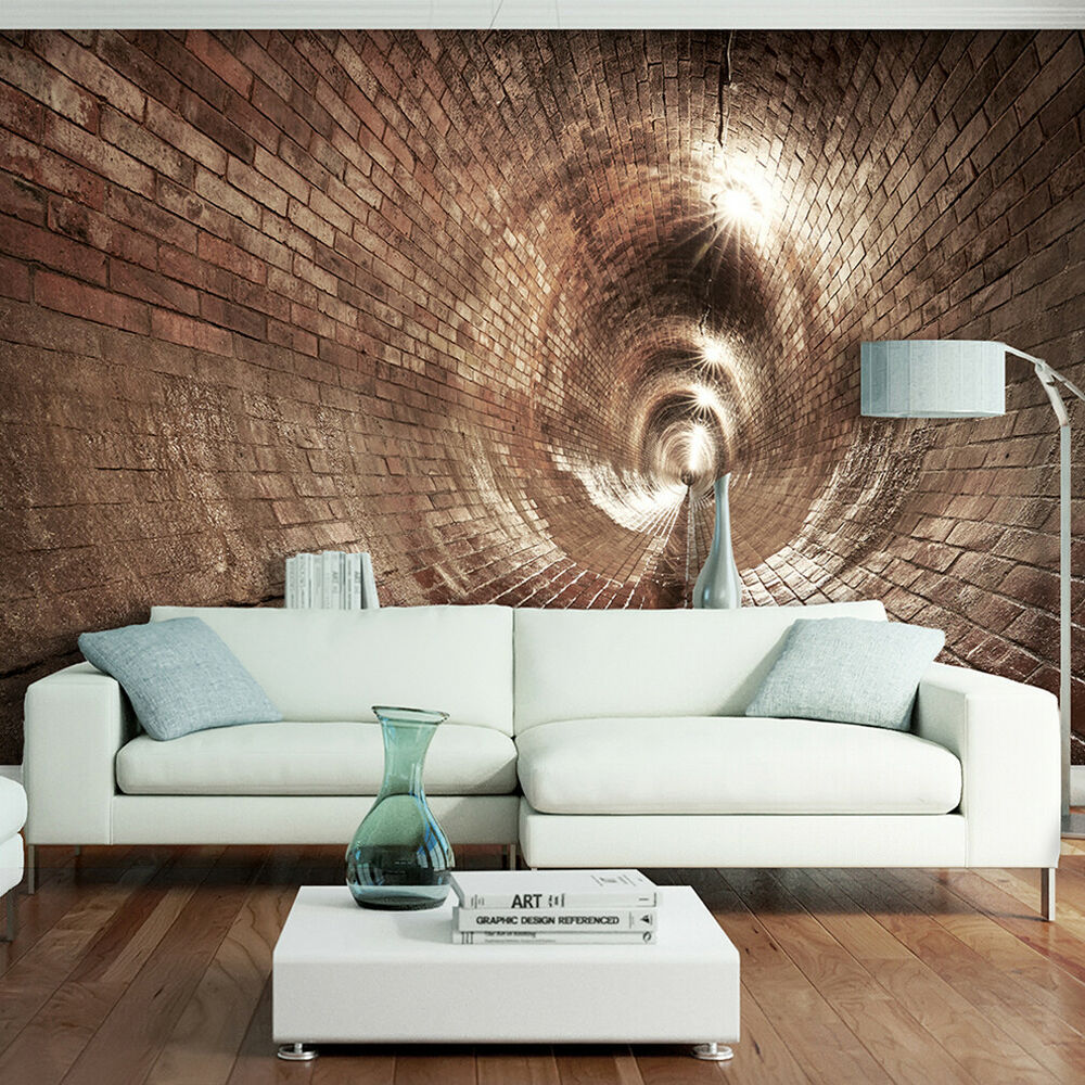vlies fototapete tunnel ziegel grau 3d effekt tapete wohnzimmer wandbilder xxl 1 ebay. Black Bedroom Furniture Sets. Home Design Ideas