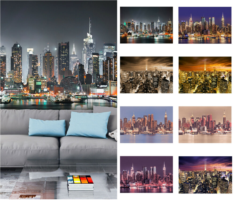 vlies fototapete new york skyline nacht violett blau tapete wandbild 12 farben ebay. Black Bedroom Furniture Sets. Home Design Ideas