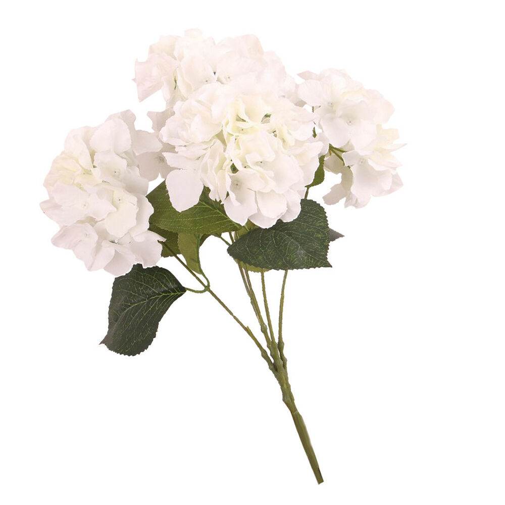 Details About Faux Artificial Silk Floral Flower Bouquet Hydrangea Home Decor Craft White