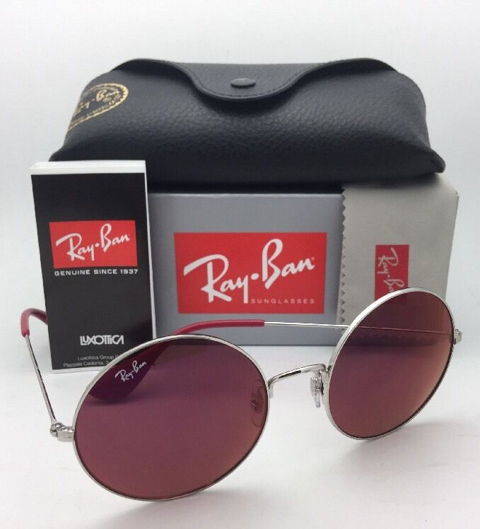 53fac7fdc6 New Ray-Ban Sunglasses RB 3592 003 D0 55-20 Silver Round Frames with Red  Lenses