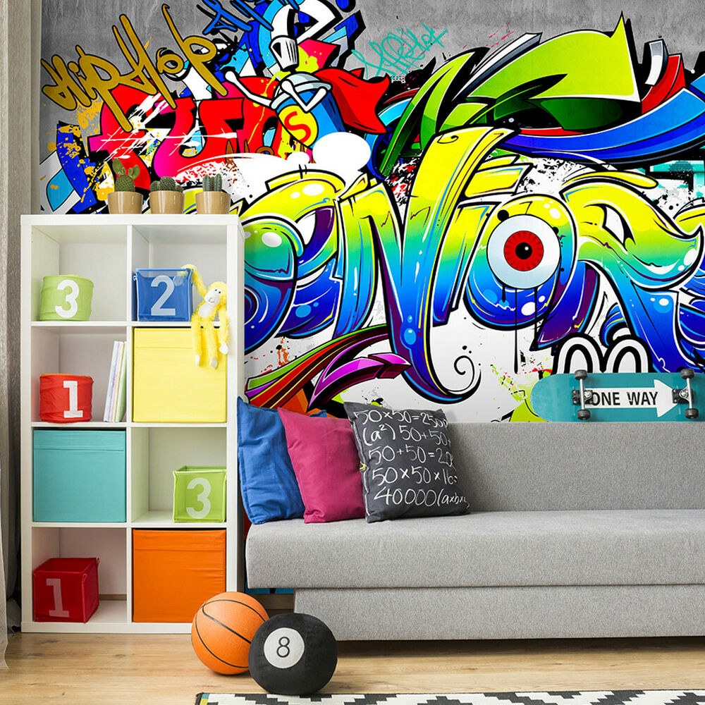 vlies fototapete graffiti bunt steinwand tapete kinderzimmer wandbilder xxl 205 ebay. Black Bedroom Furniture Sets. Home Design Ideas