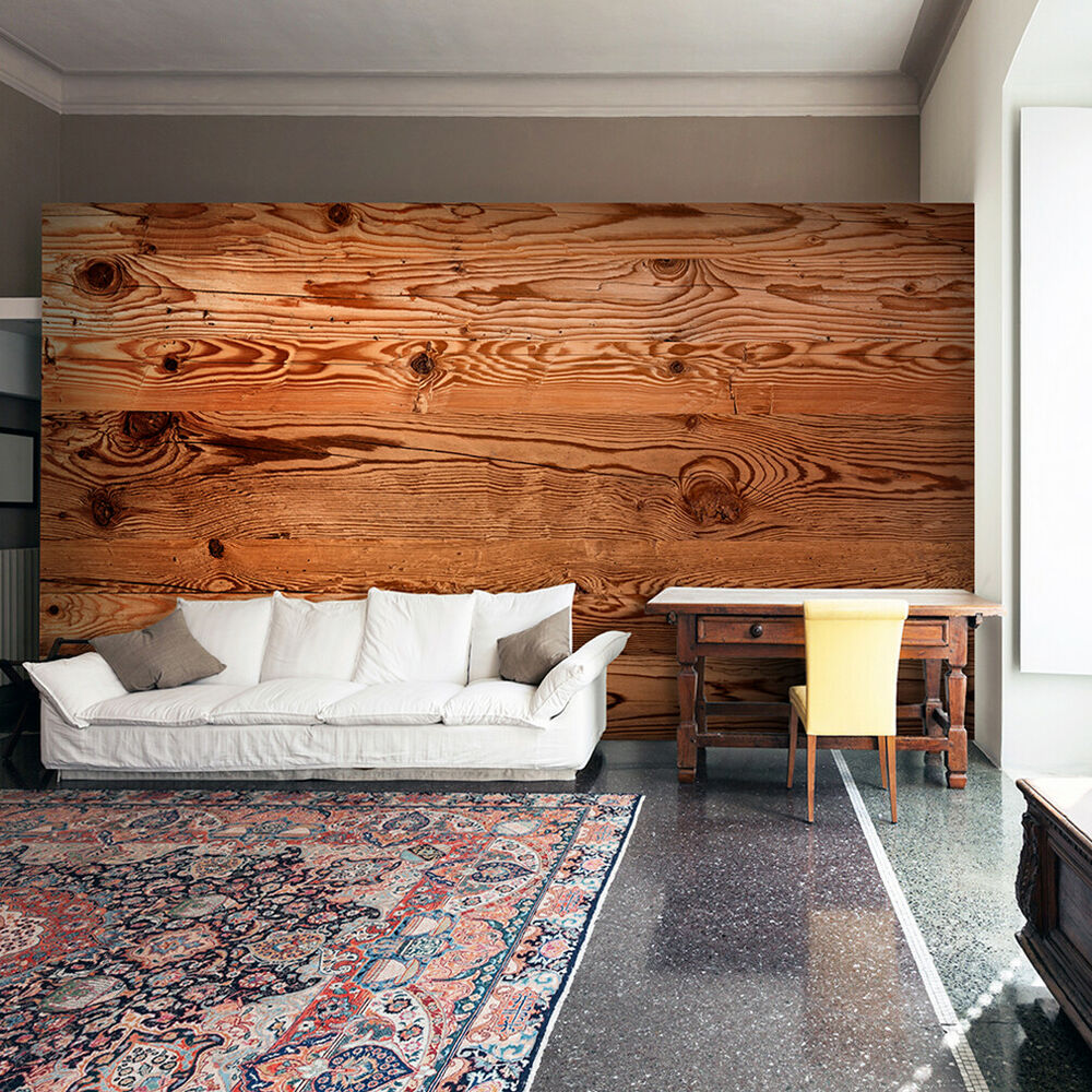 vlies fototapete holzeffekt tapete holz optik wandbilder xxl holzwand braun 168 ebay. Black Bedroom Furniture Sets. Home Design Ideas