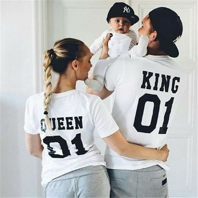 t shirt king queen princess prince love matching tee family couple shirts casual ebay. Black Bedroom Furniture Sets. Home Design Ideas