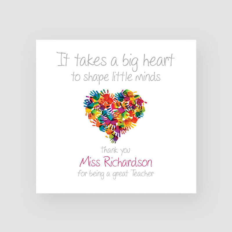 Personalised Handmade Teacher Heart Thank You Card Mr Mrs Miss