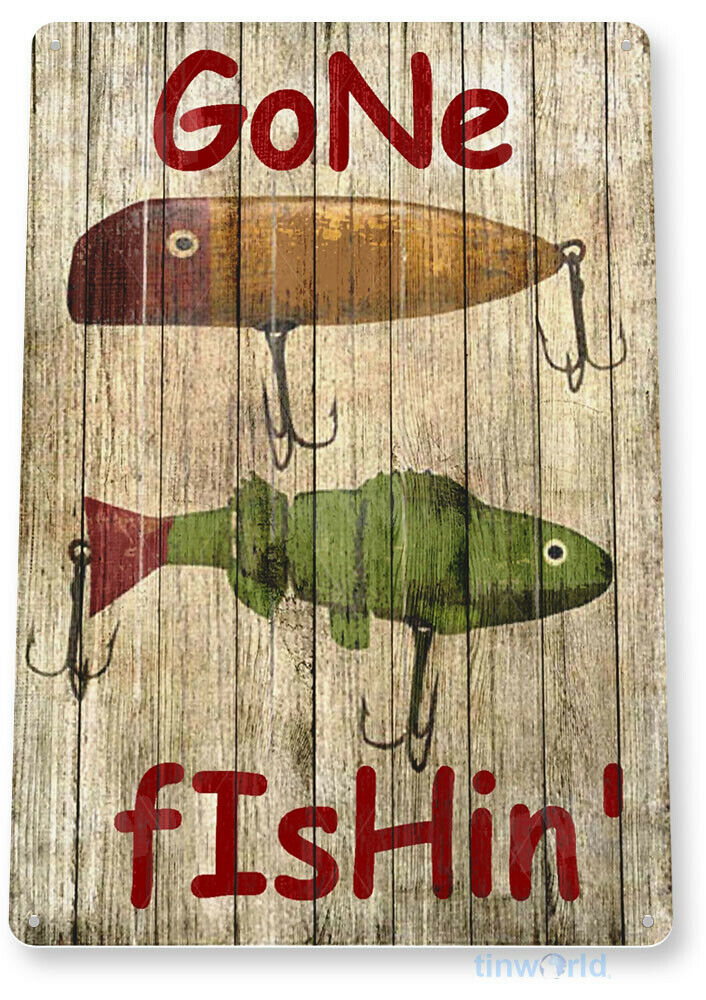 tin sign pgb668 gone fishing fishing boat bait lures