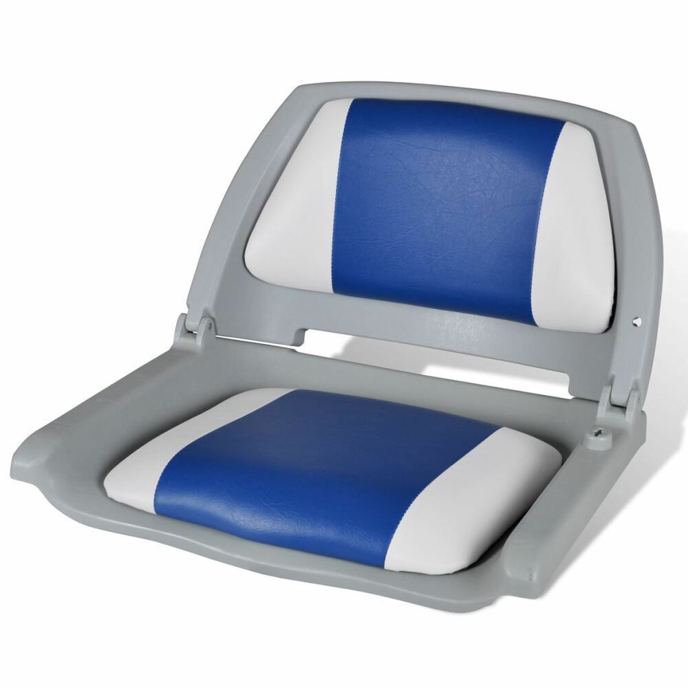 Fishing Boat Seat Chair Folding Backrest Padded Pillow Foldable Blue And White Ebay