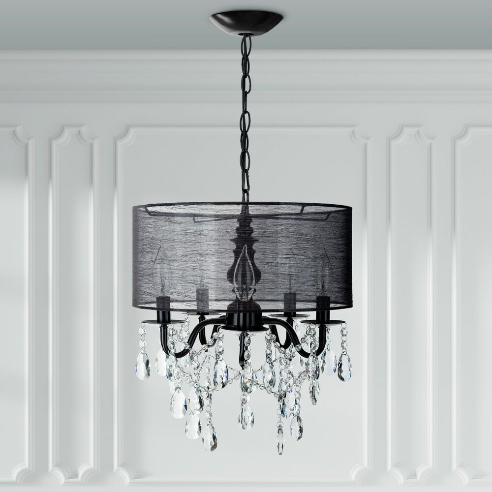 Details About 5 Light Black Crystal Chandelier With Drum Shade Plug In Lighting Fixture Lamp