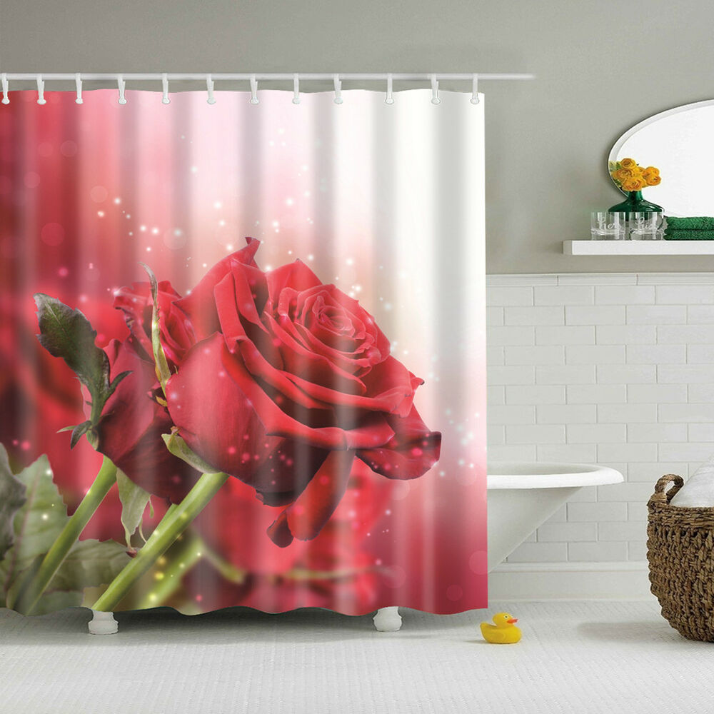 Details About Bathroom 3D Fabric Red Rose Pattern Shower Curtain With 12 Hooks