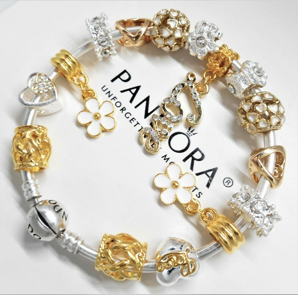 authentic pandora silver bangle charm bracelet with gold heart european charms ebay. Black Bedroom Furniture Sets. Home Design Ideas