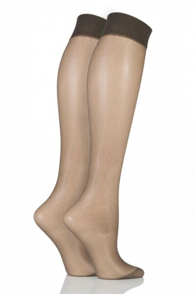 Royaume-UniLadies 2 Pair Pretty Polly Everyday Silver Fresh Support Knee Highs