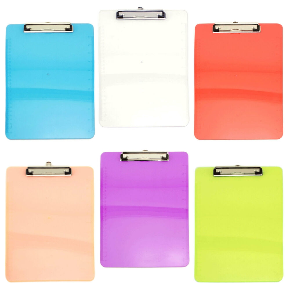 6pc clear clipboards office desk supplies plastic colorful