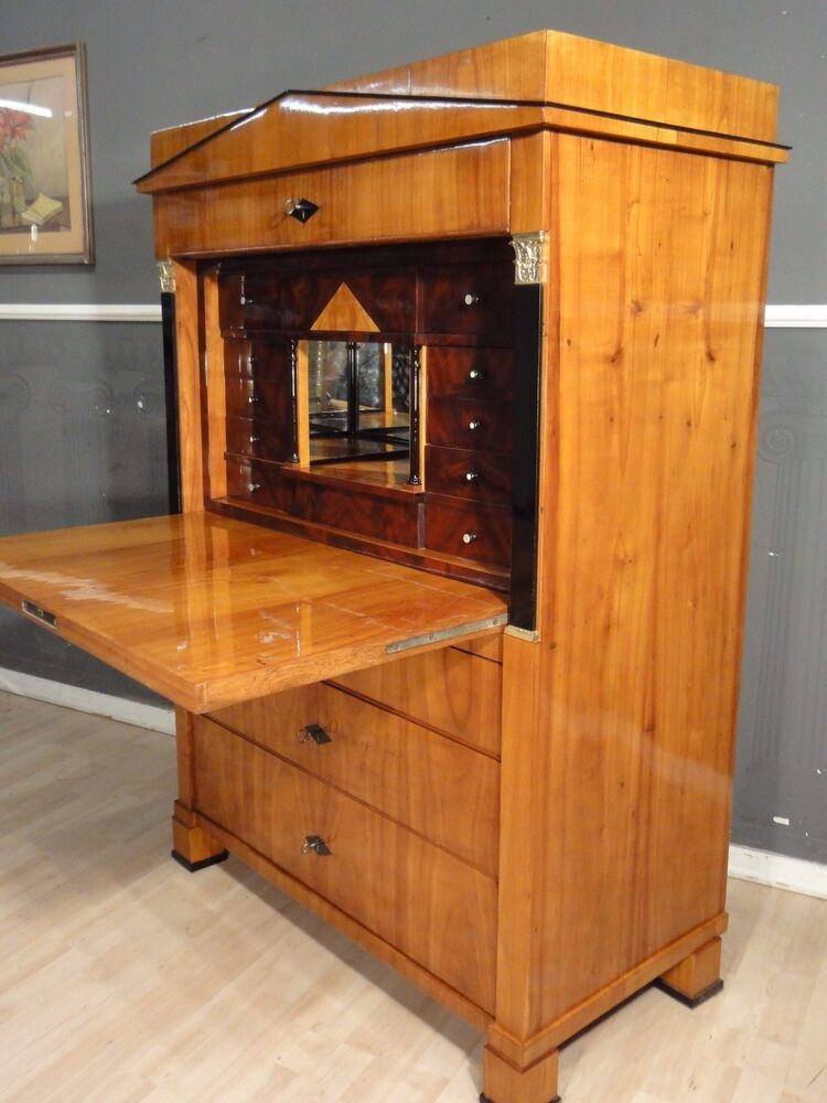 biedermeier sekret r schreibschrank kirschbaum 1820 antik leipzig ebay. Black Bedroom Furniture Sets. Home Design Ideas