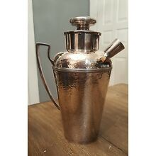 Dated 1915 Antique EGW & S Silverplate Hammered Finish Cocktail Shaker Nice