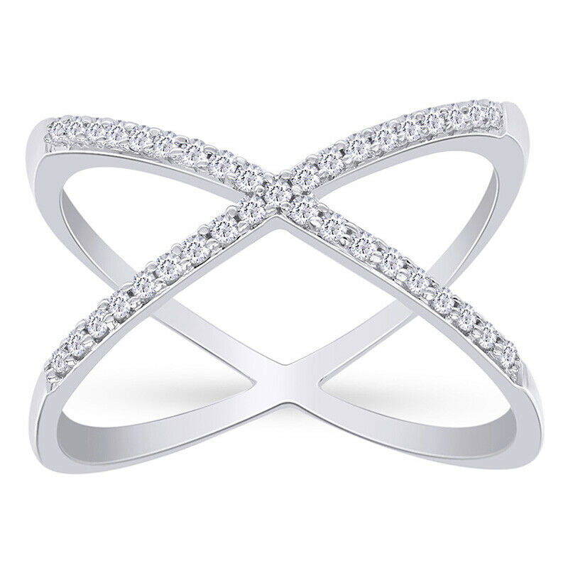 Details About Igi Certified 14k Gold Womens Ring Criss Cross Setting X Shape With 26tcw