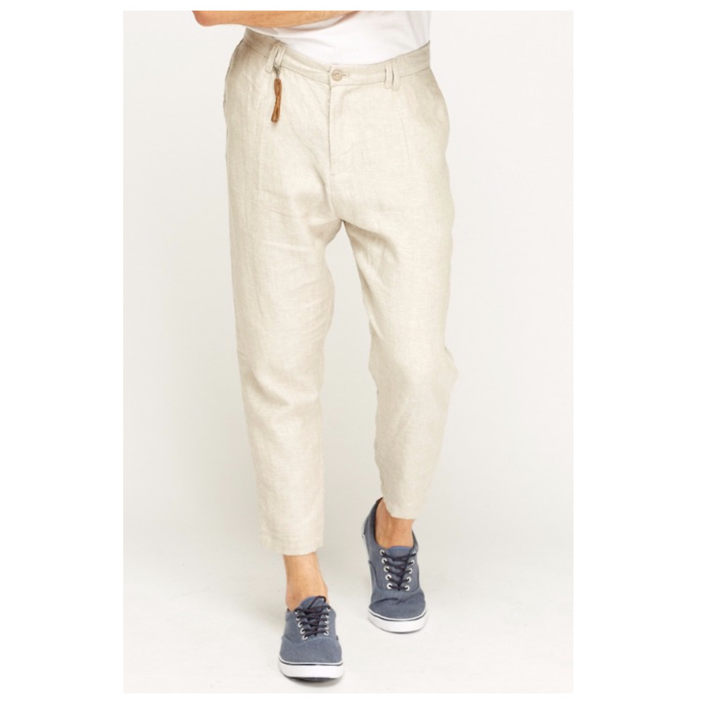 e1ba5775 Details about Men's ZARA New Pocket Natural Sand Cropped Loose Linen  Trousers 3/4 Size 30 31
