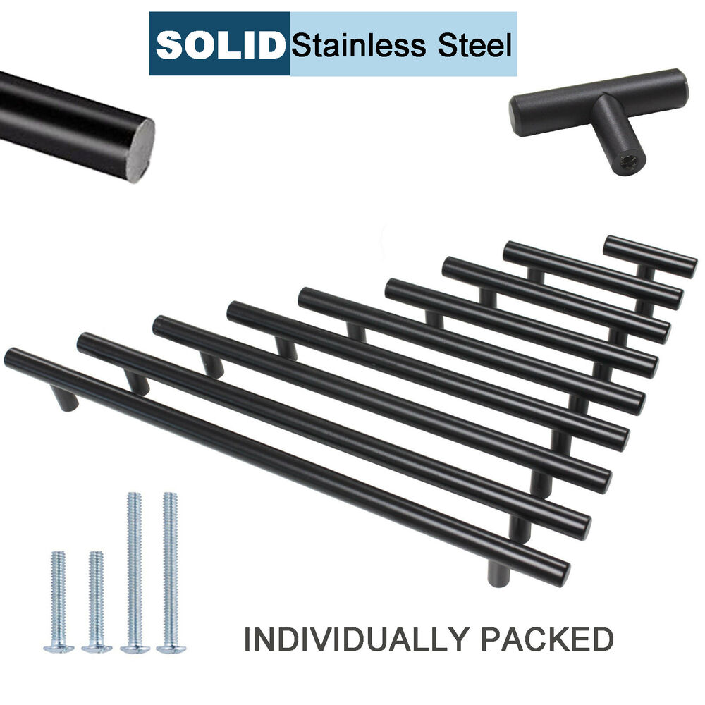Black SOLID Stainless Steel Kitchen Cabinet Drawer Pulls T