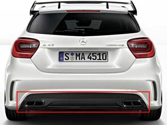 mercedes w176 amg a45 amg a class sport rear diffuser tailpipe package ebay. Black Bedroom Furniture Sets. Home Design Ideas