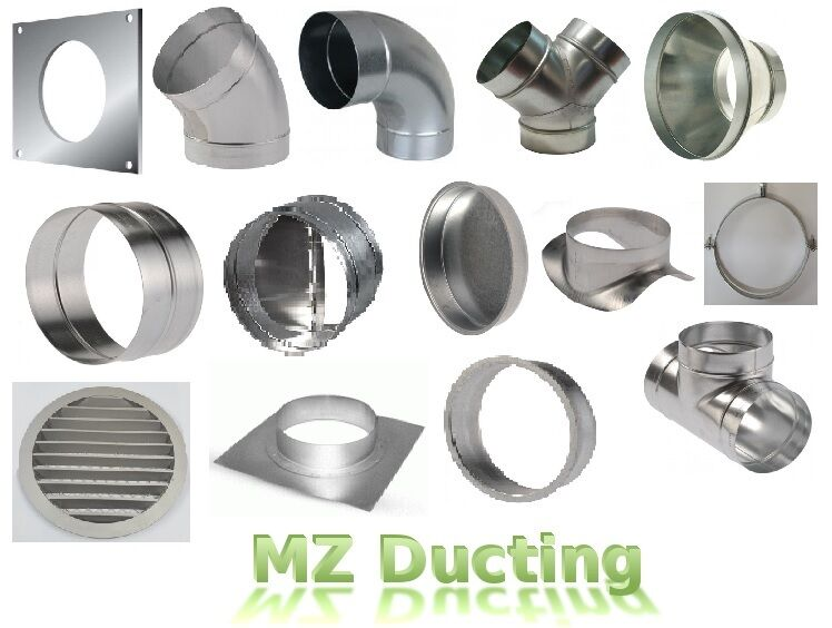 4 In Duct Fittings : Quot inch dia mm metal ducting fittings pipe