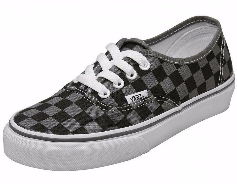 713b0e718a7 Details about Vans AUTHENTIC Checkerboard Pewter Black Gray White  Discounted (266) Men s Shoes