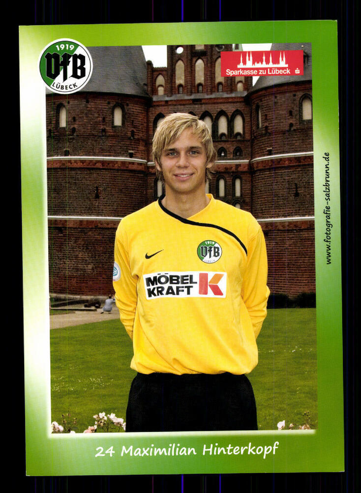 Maximilian Behind Head Autograph Card Vfb Lubeck Genuine Signed A