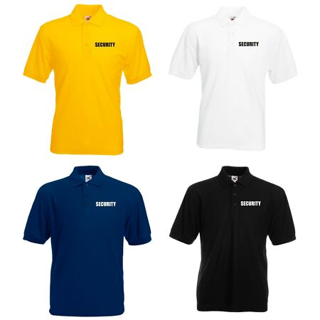 img-SECURITY POLO SHIRT PRINTED FRONT & BACK AND SLEEVES DOORMAN BOUNCER BODYGUARD