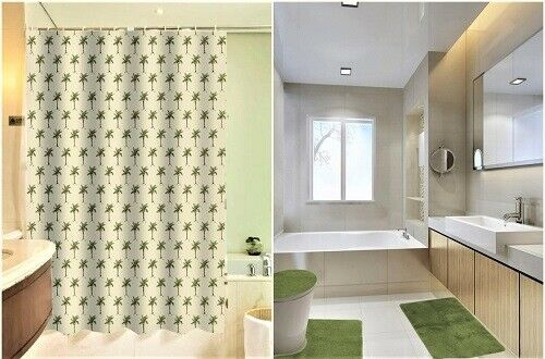 PALM TREE BATHROOM BATH MAT SET RUG CARPET SHOWER CURTAIN RINGS LID COVER