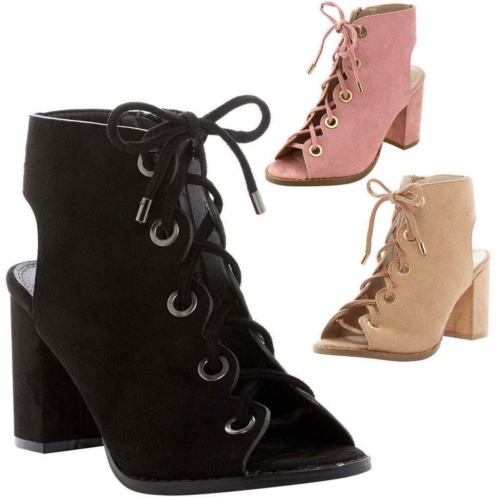 New Fashion Open Toe Pink Suede Leather Lace Up Short