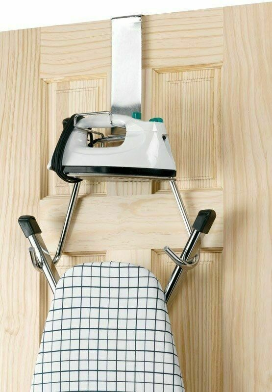 Superb Over The Door Ironing Board Hanger Holder T Leg Ironing Board Chrome By  Polder