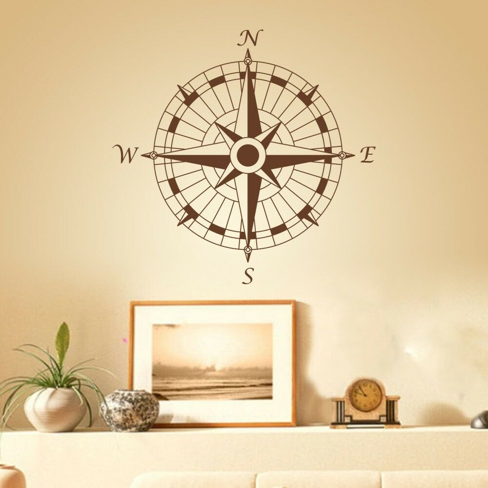 Nautical Compass Rose Wall Decal Inspired Ocean Coastal Room Home ...