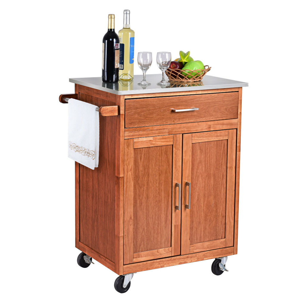 Wood Kitchen Trolley Cart Stainless Steel Top Rolling ...
