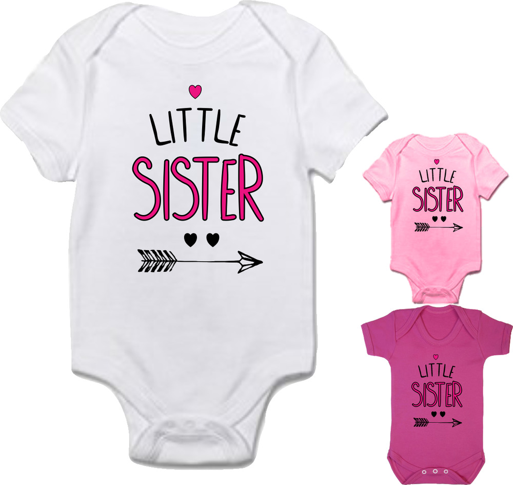 cc5bd72dc Details about Baby girl clothing 'LITTLE SISTER' cute bodysuit babygrow  **FANTASTIC GIFT**
