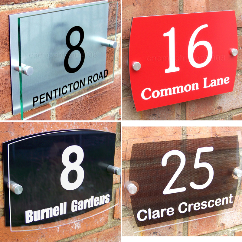 house door number plaque wall gate sign name plate glass acrylic aluminium ebay. Black Bedroom Furniture Sets. Home Design Ideas