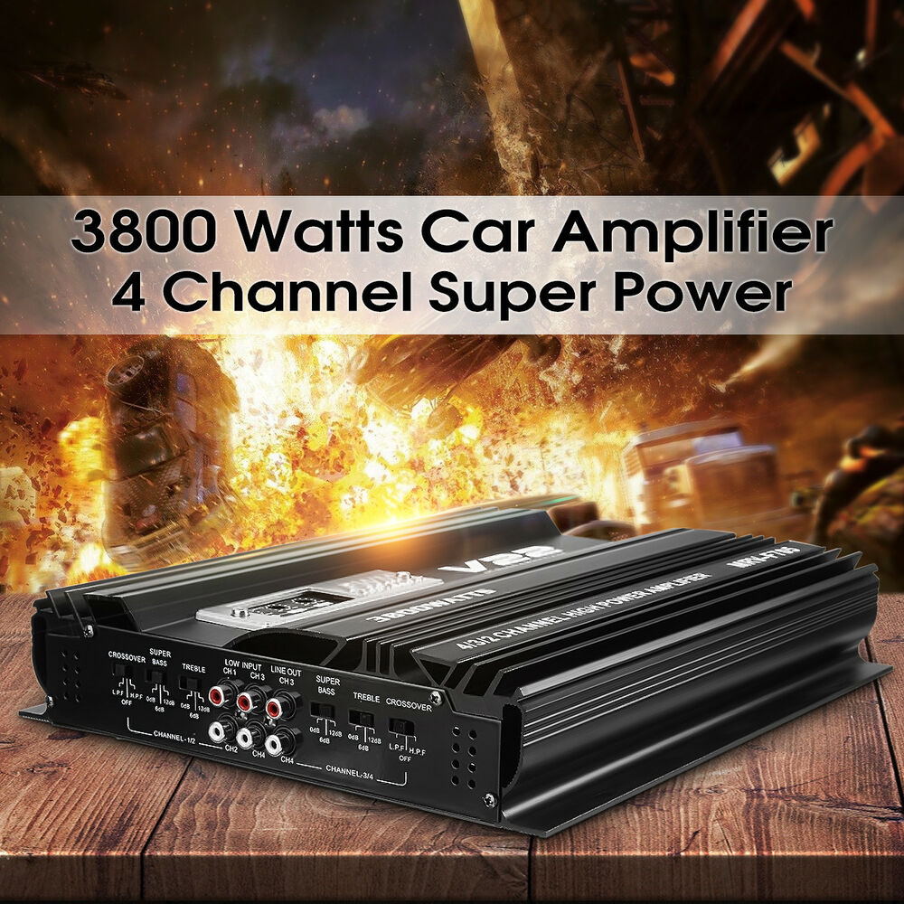 3800w rms 4 canaux 12v voiture audio amplificateur amplifier alliage d 39 aluminium ebay. Black Bedroom Furniture Sets. Home Design Ideas