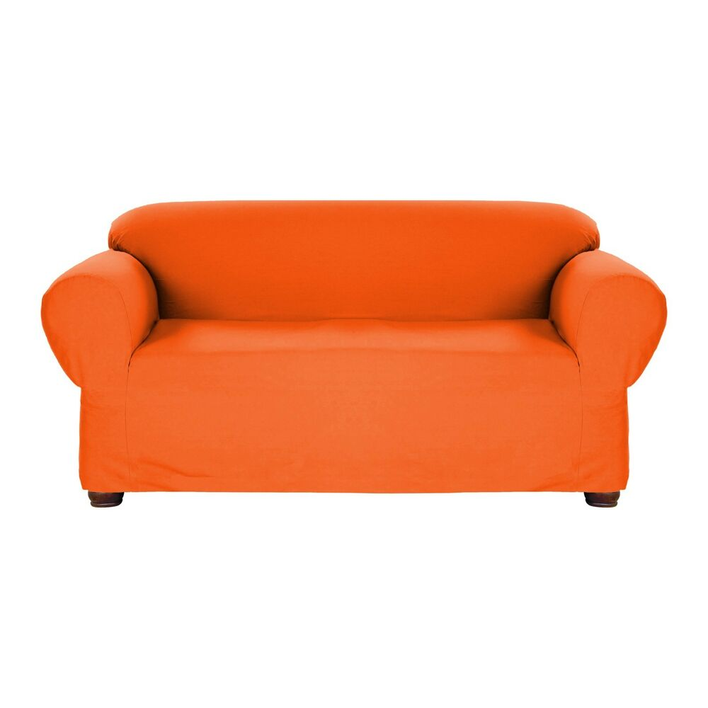 Orange Jersey Loveseat Stretch Slipcover Couch Cover Love