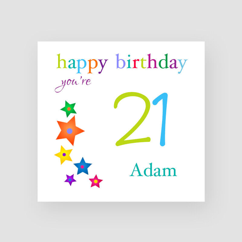 Details About Personalised Handmade Stars 21st Birthday Card