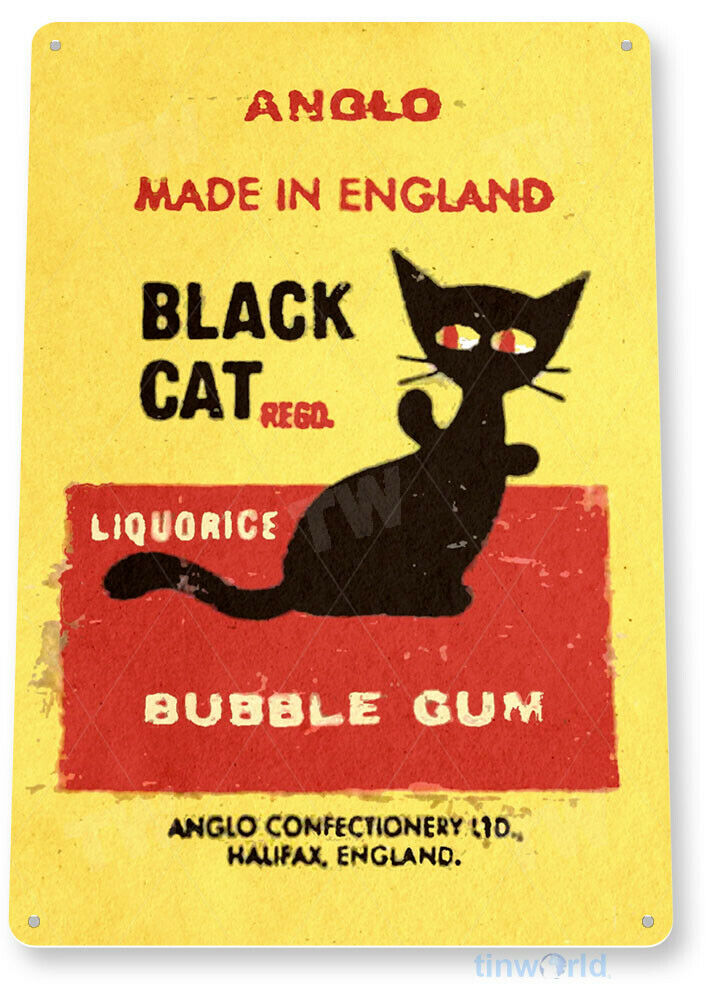 TIN SIGN PGB705 Black Cat Bubble Gum Chewing Gum Retro Food Candy ...